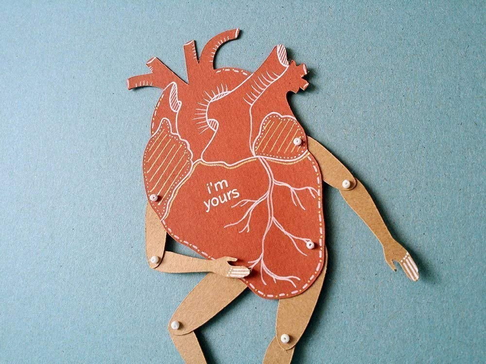 My Heart articulated paper doll, hand painted greeting card with movable parts, Valentine's card and anniversary gift