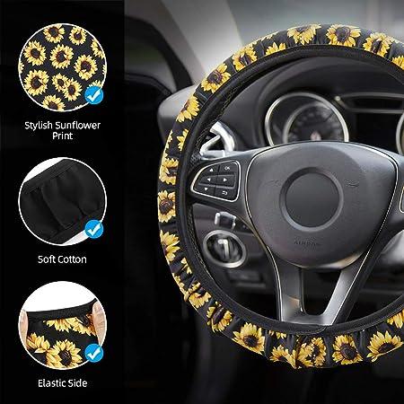set di accessori per auto carino da 10 pcs include coprivolante in girasole spallacci della cintura di sicurezza e portachiavi CestMall Set di accessori per auto decorazioni per lo sfiato dellauto