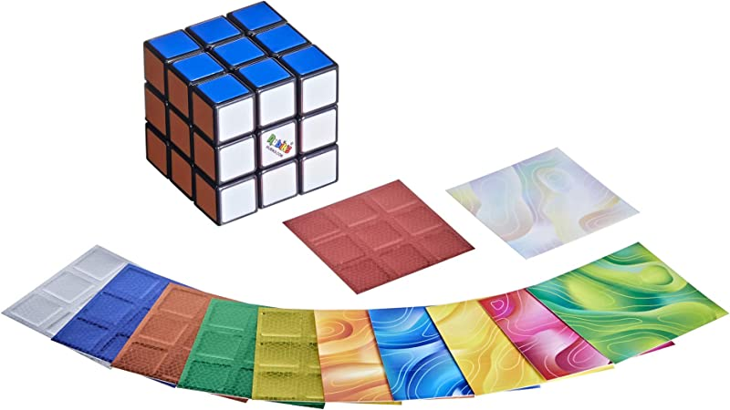 Rubik's Cube 3x3 Puzzle, Original Rubik's Product, Includes Removable Mod Stickers to Customize, Toy for Kids Ages 8 and Up