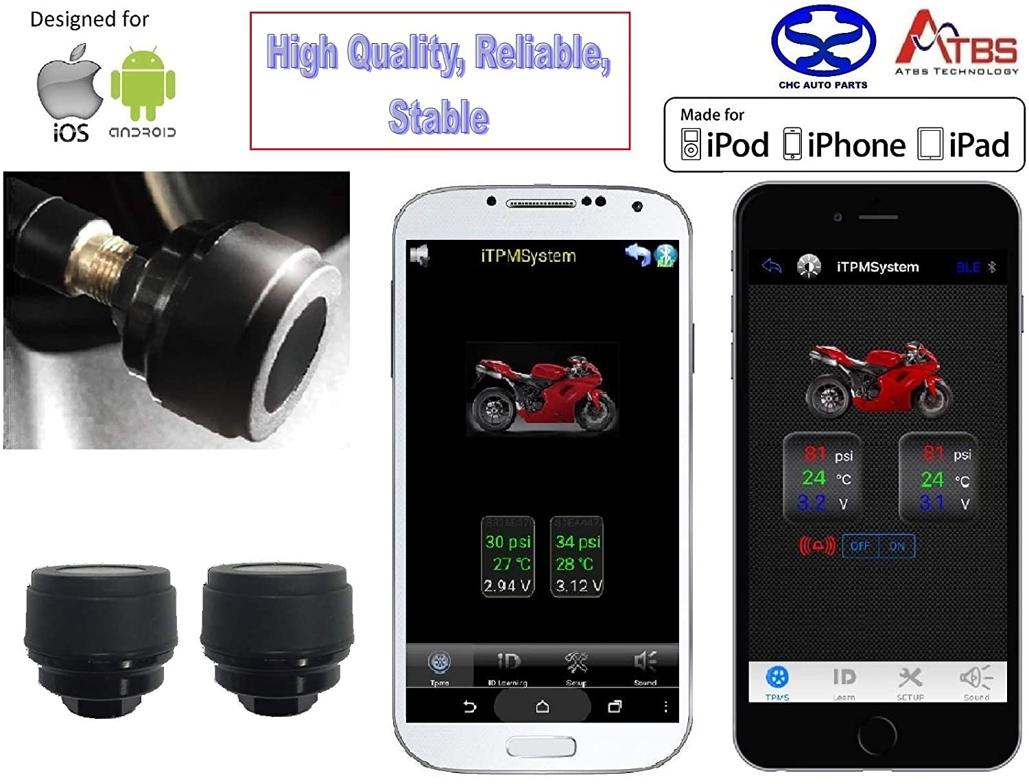 Amazon com: CHC Auto Parts AT63 Bluetooth BLE TPMS External