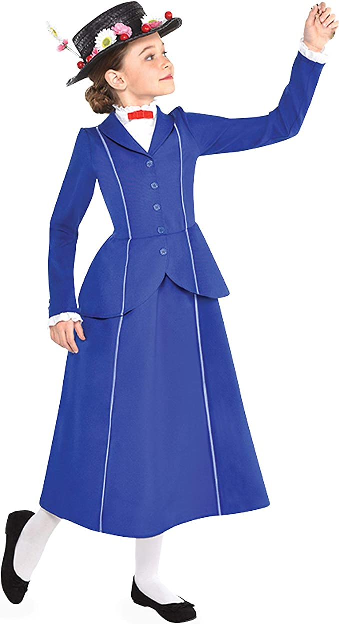 Victorian Kids Costumes & Shoes- Girls, Boys, Baby, Toddler Suit Yourself Mary Poppins Costume for Girls Includes a Detailed Blue and White Dress and a Floral Hat $29.99 AT vintagedancer.com