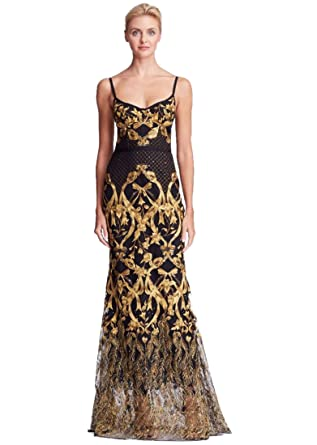 f31c92b538e Marchesa Notte Women's Sleeveless Embroidered Corset Gown 16 Black at  Amazon Women's Clothing store: