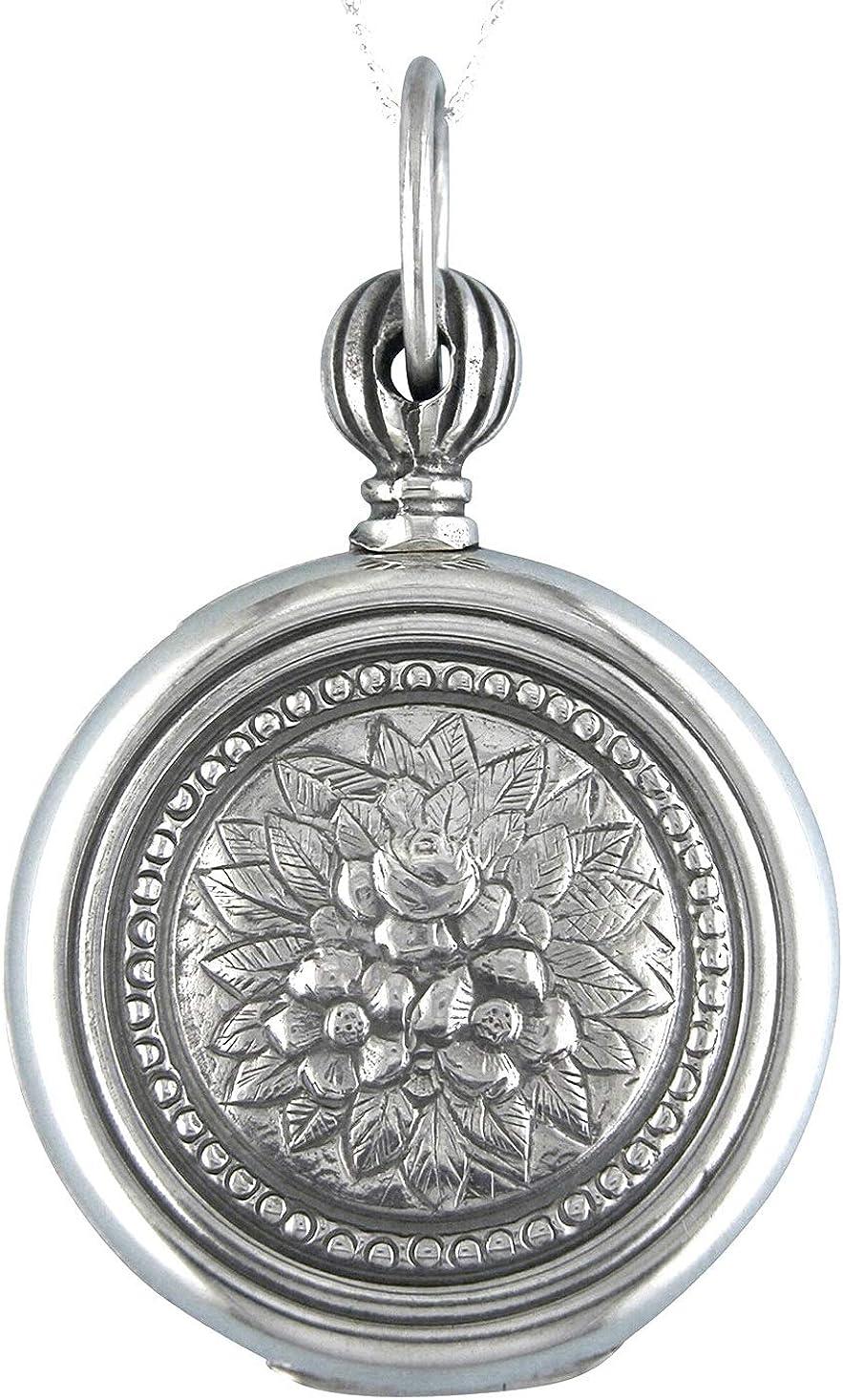 Alylosilver Collar Colgante Guardapelo de Plata para Mujer Redondo con Flores - Incluye Cadena de Plata de 45 cm y Estuche para Regalo