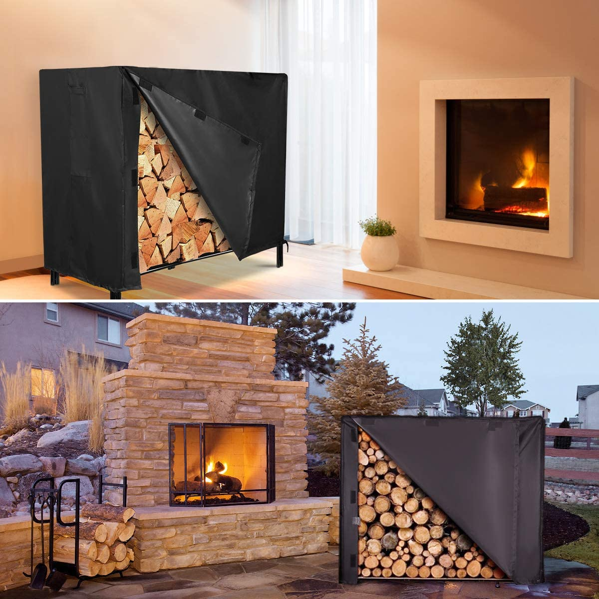 48x24x42in//122x61x107cm 4 Feet 600D Waterproof Patio Log Rack Outdoor Cover NASUM Firewood Rack Cover