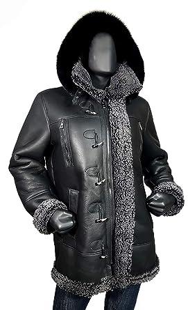 0d0f8510570 Jakewood Long Shearling Aviator B-7 Sheepskin Leather Coat Fox Fur Hood  (Medium