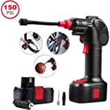 Schafter Cordless Tire Inflator, Portable Air Compressor Pump, Electric Power Inflator Hand Held Pump with Li-ion 12V 150PSI 55L/min, Built in LED Light