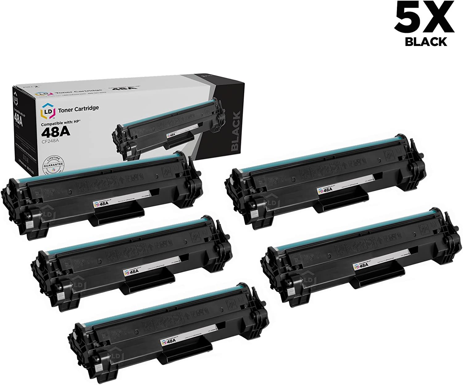 LD Compatible Toner Cartridge Replacement for HP 48A CF248A (Black, 5-Pack)