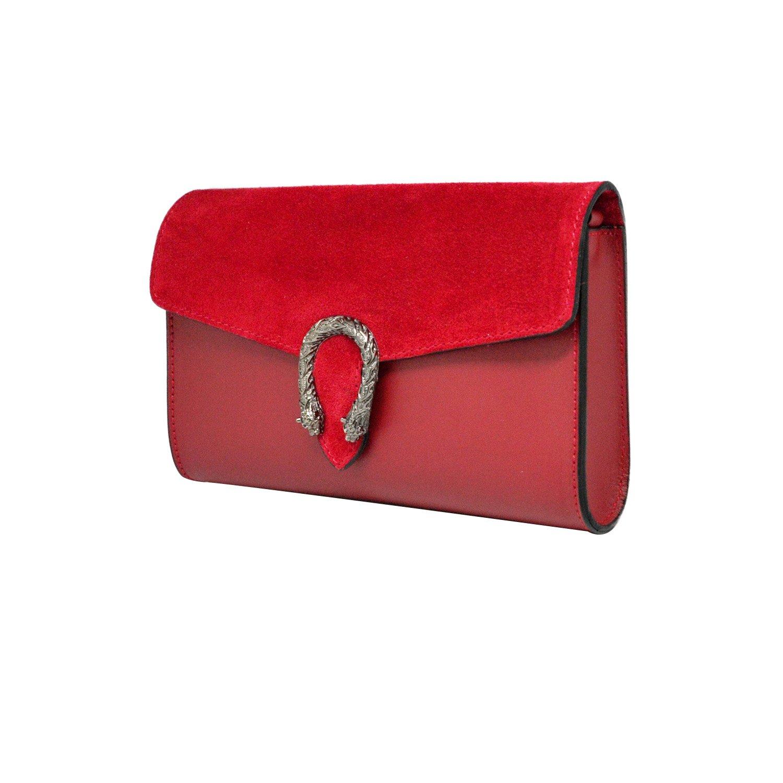 05df78359b #MYITALIANBAG RONDA Sac à main Baguette Pochette, sac à bandoulière avec  chaîne en nickel foncé fermeture accessoire, cuir lisse ...