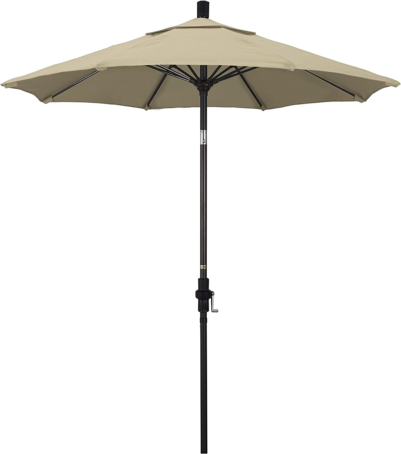 California Umbrella 7.5 Round Aluminum Pole Fiberglass Rib Market Umbrella, Crank Lift, Collar Tilt, Bronze Pole, Beige