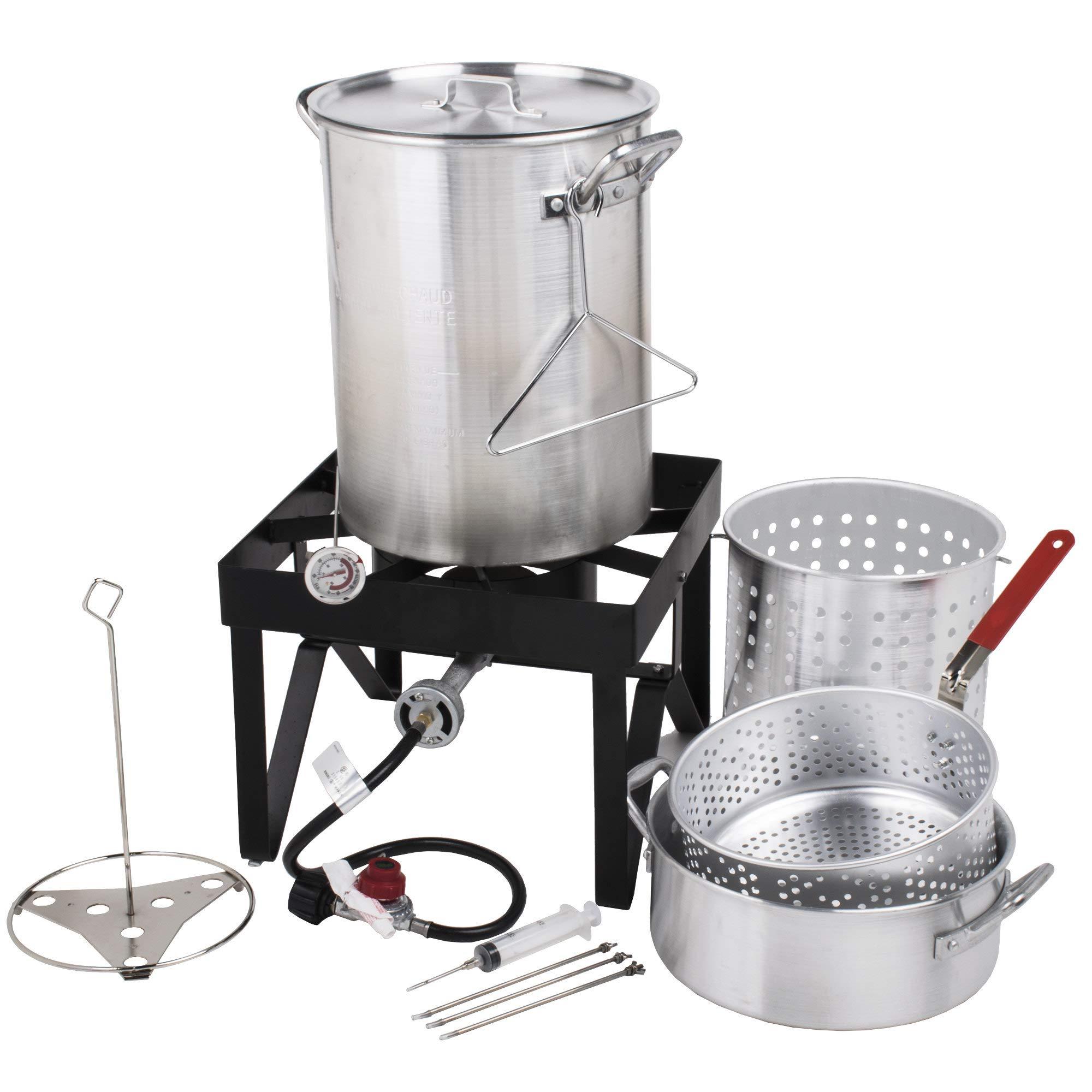 Commercial 30 Qt. Deluxe Aluminum Turkey Fryer Kit/Steamer Kit, Grade