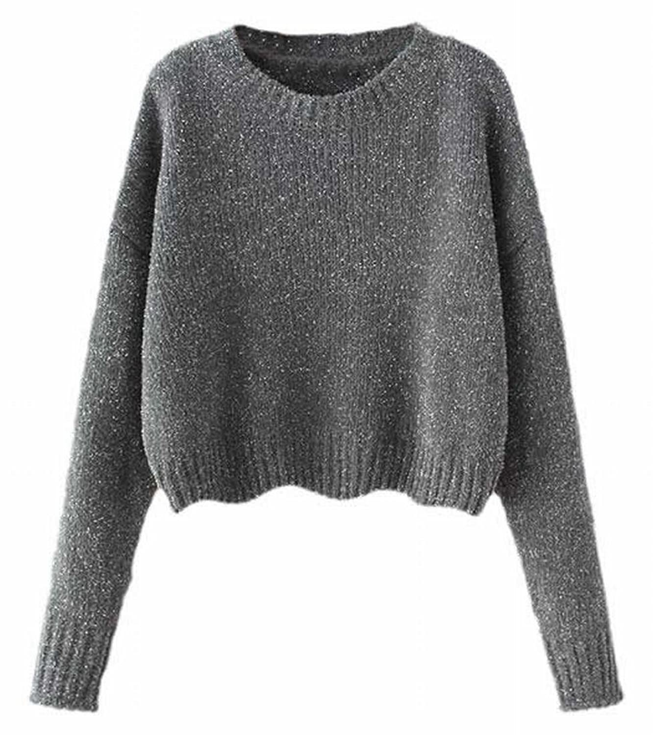 ARRIVE GUIDE Womens Classic Short Round-neck Loose Pullover Sweaters