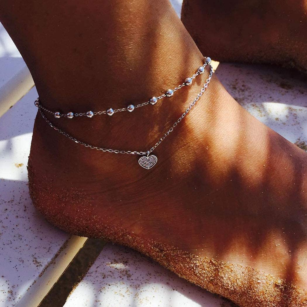 Gortin Boho Layered Anklets Silver Heart Ankle Bracelets Beaded Anklets Adjustable Foot Jewelry for Women and Girls