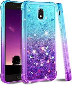 Ruky Galaxy J7 2018 Case,Galaxy J7 Refine Case,Galaxy J7 Star Case,J7 Crown Case,Galaxy J7 V J7V 2nd Gen Case,J7 Aura Case, Glitter Flowing Liquid Phone Case for Samsung Galaxy J7 2018 (Teal Purple)