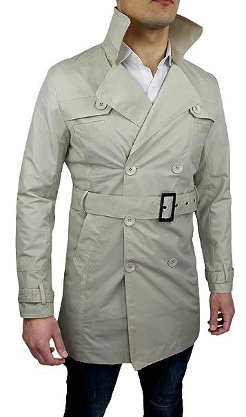 casual estivo blazer Giacca Trench uomo impermeabile beige Giubbotto q8Itn