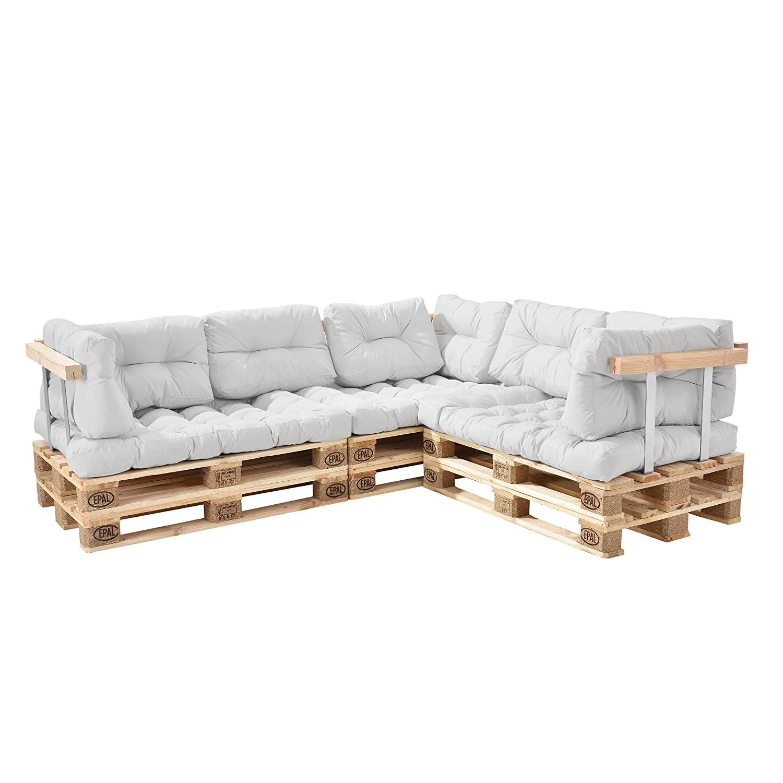 [en.casa] Euro Paletten-Sofa - DIY Möbel - Indoor Sofa mit Paletten-Kissen Wintergarten (3 x Sitzauflage und 8 x Rückenkissen) Weiß - inkl. 6x Europalette + 3x Rückenlehne + 3x Armlehne