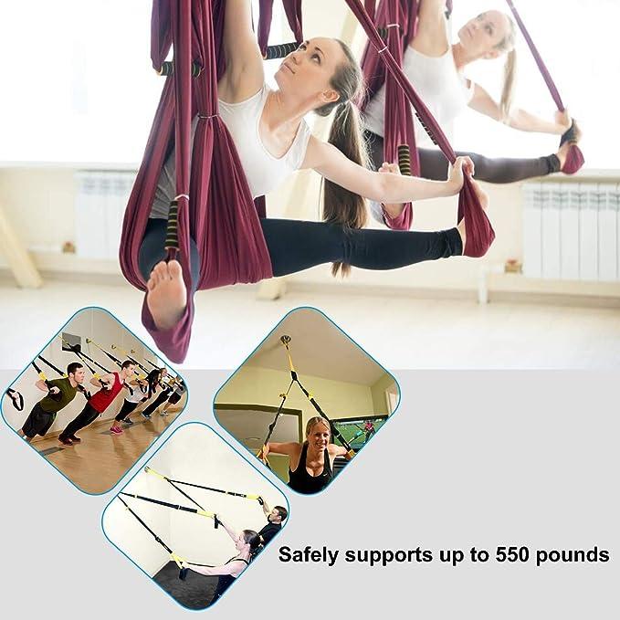 Hoseili Yoga Trapecio Ganchos de techo Soporte de pared para correas de suspensión para interiores o exteriores, anillos olímpicos, peso corporal, ...
