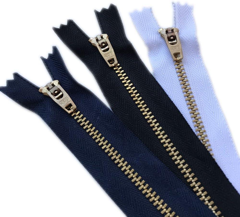 5 4,5,6,7 6 Zippers//Pack= Navy 2, Black 2, White 2 Over Kleshas Jeans Metal Zipper