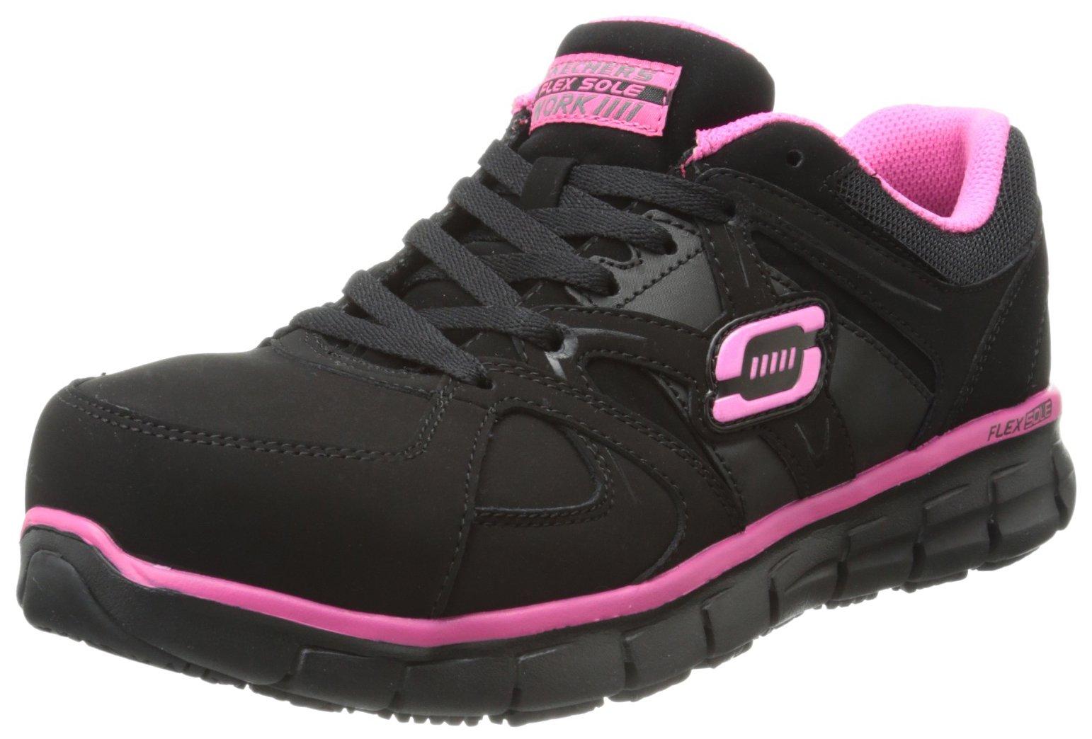 Skechers for Work Women's Synergy Sandlot Slip Resistant Work Shoe, Black/Pink, 9 M US