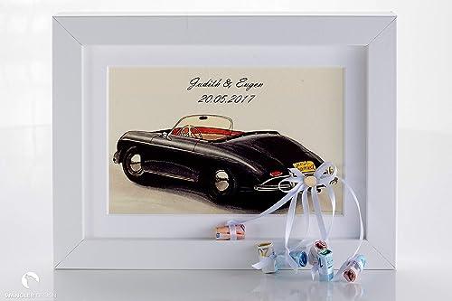 Hochzeitsgeschenk Auto Im Bilderrahmen Geldgeschenk Personalisierbar Amazon De Handmade