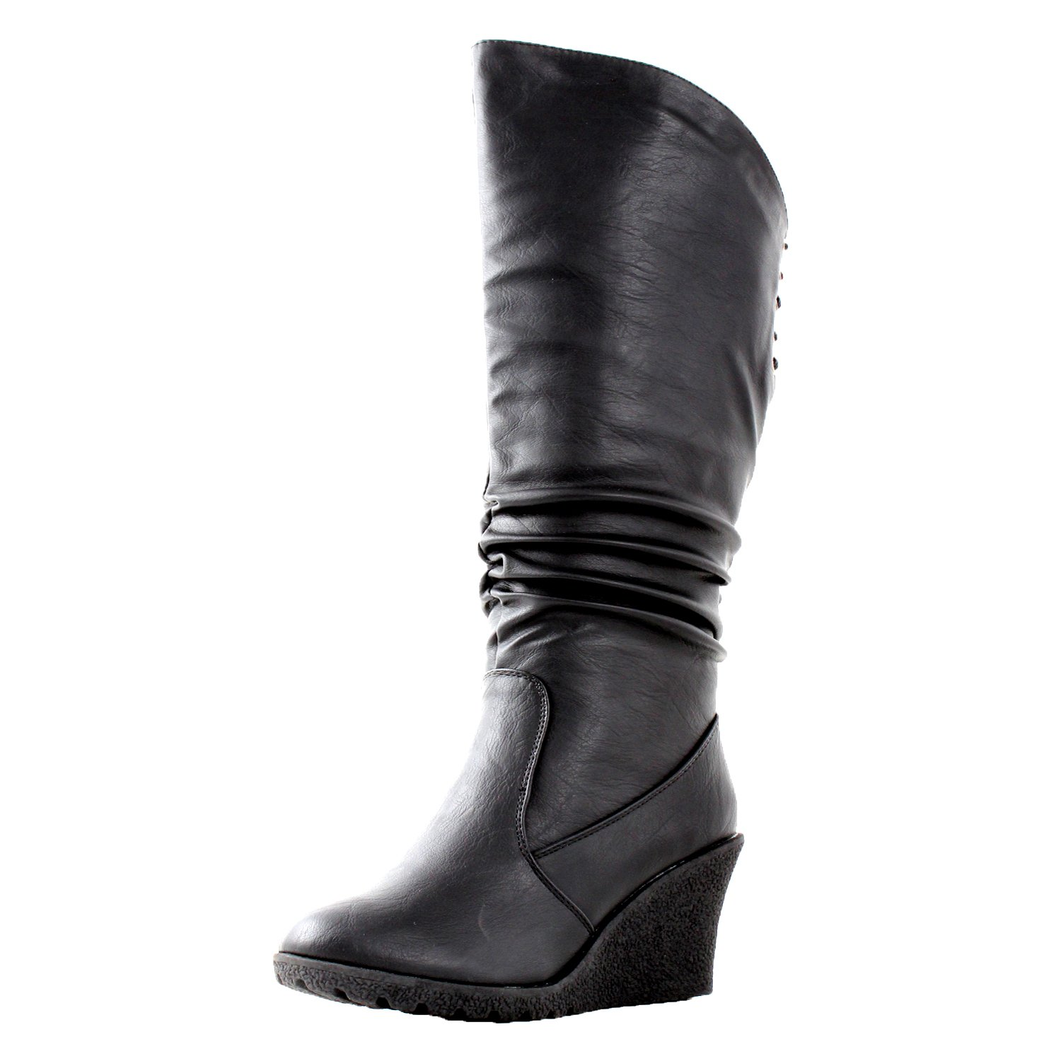 Amazon.com   Pure 65 Womens Slouch Wedge Boots Black   Knee-High