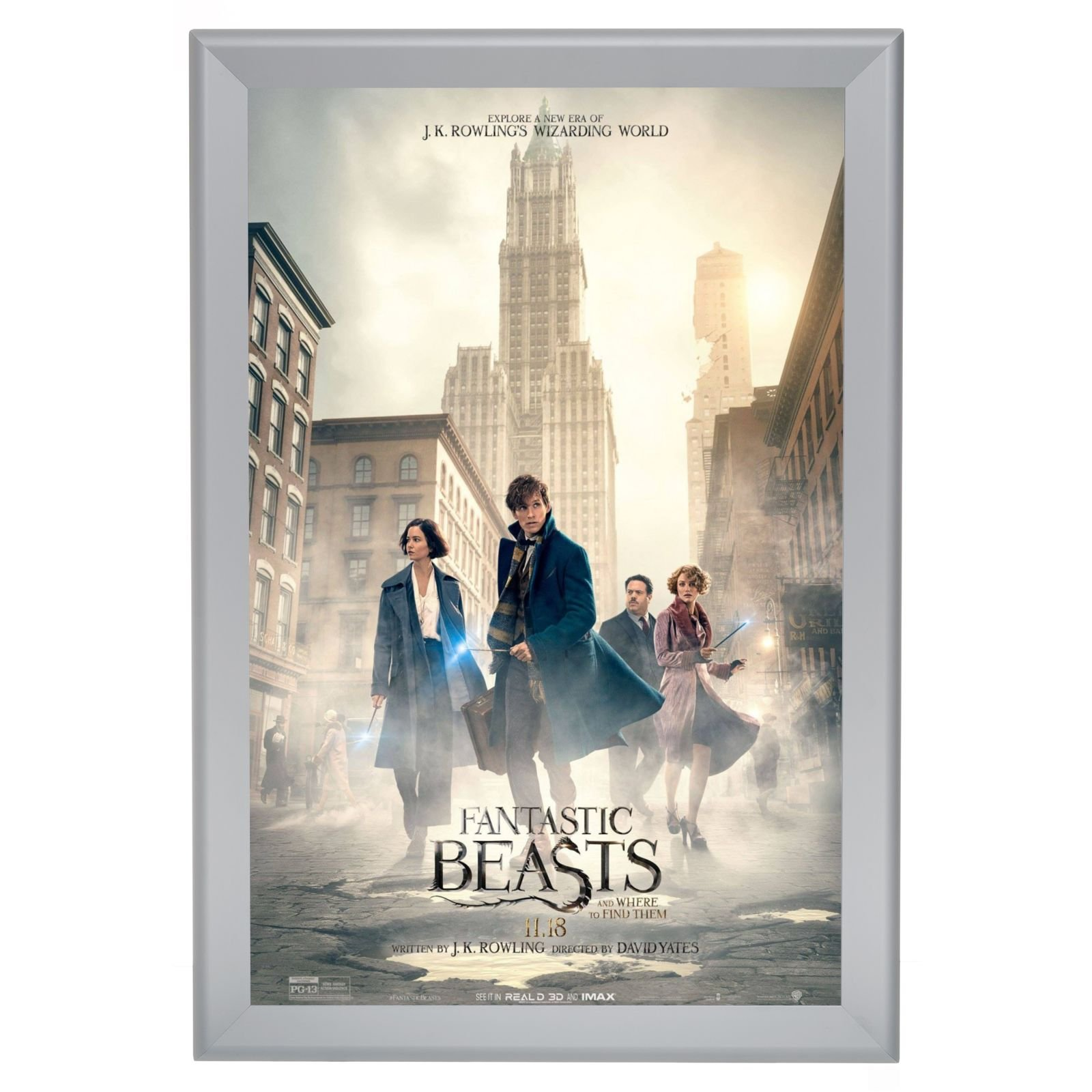 Movie Poster Frame 24x36 Inches, Silver SnapeZo 1.7\
