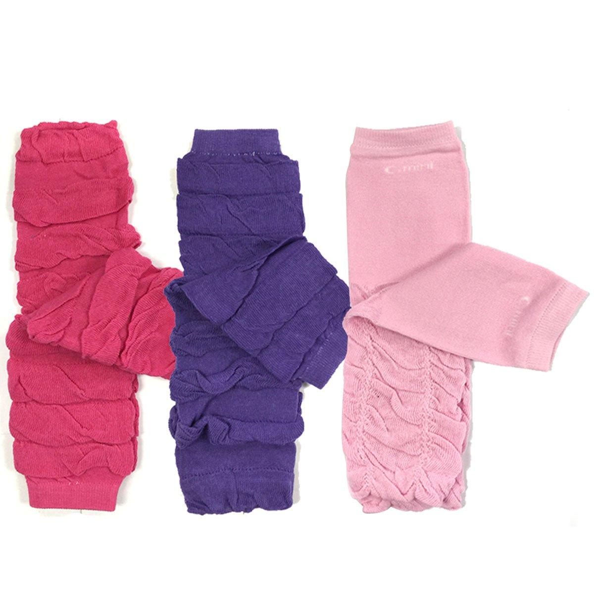 Bowbear Little Girls 3 Pair Gathered Ruffles Leg Warmers Lilac Ballet Pink Sky Blue B68821c_AFN