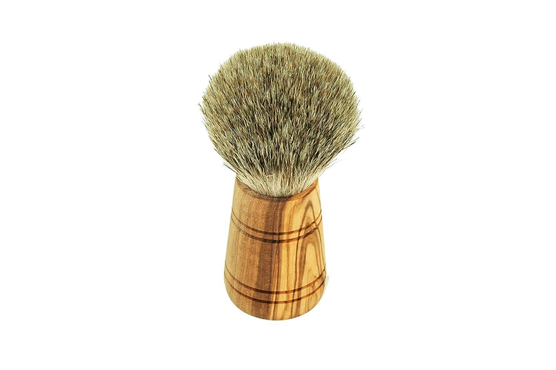 D.O.M. Die Olivenholz-Manufaktur - Brocha para afeitado (madera de olivo, con pelo de tejón) 3325