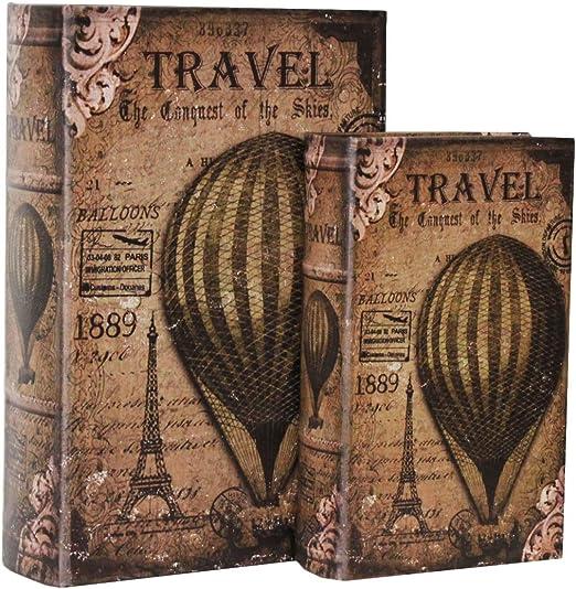 Keyhome - Caja Libro con Tapa, 2 Cajas Globo aerostático, Caja ...