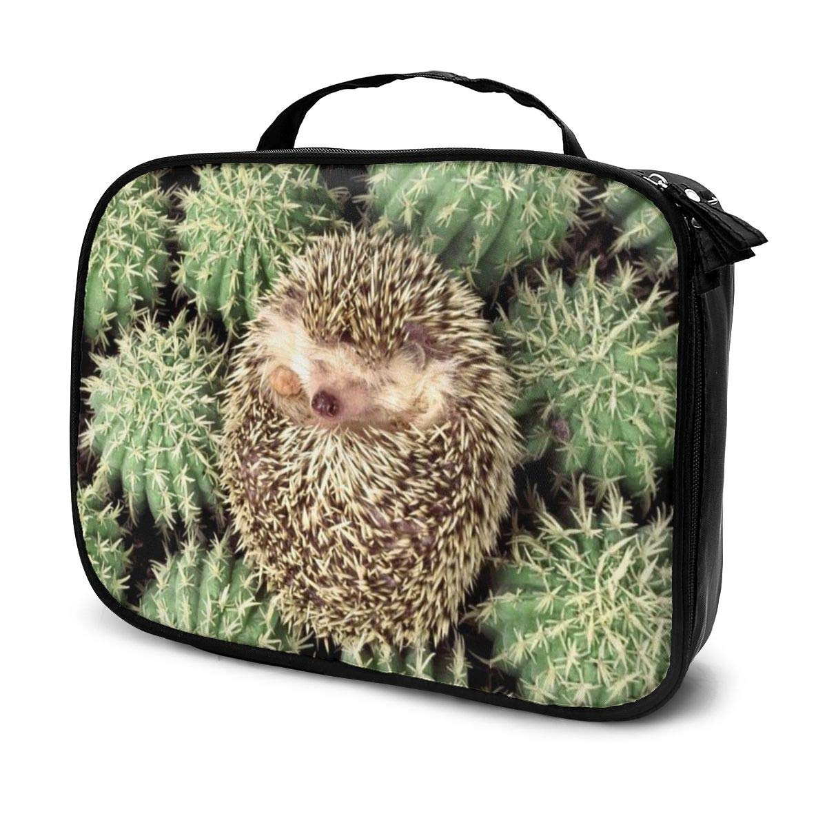Travel Makeup Bag, Cactus And Hedgehog Capacity Zippered Organizer Cosmetic Bag With Top Handle, Portable Storage Bag For Women