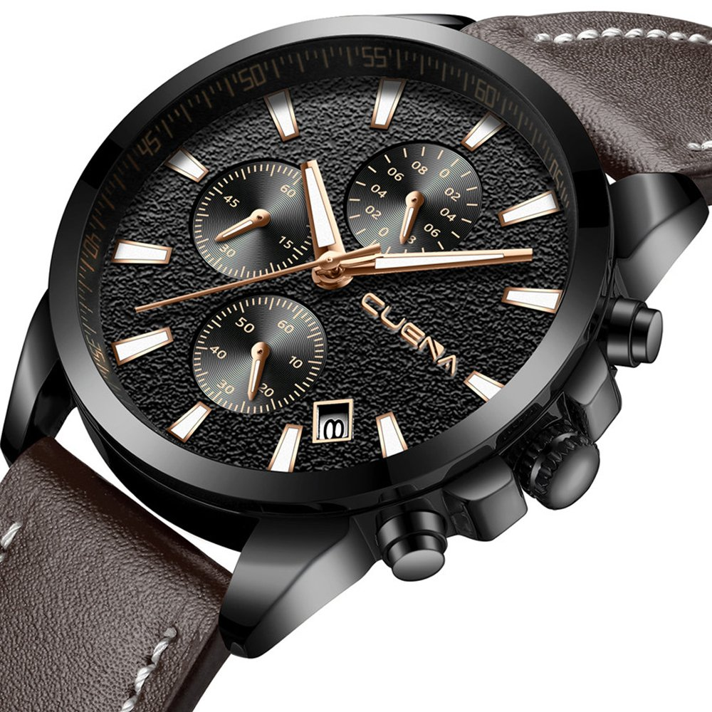 Men's Casual Sport Chronograph Wrist Watch Analog Quartz Watch with Date