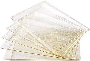 I00000 6 Pack Gold Glitter Plastic Serving Tray, 15