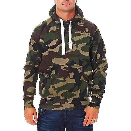 Happy Clothing Herren Pullover Camouflage Hoodie Grün Kapuzenpullover Pulli mit Kapuze