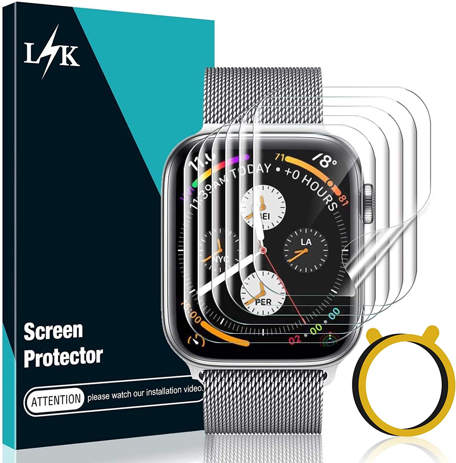 6 Pack LϟK Screen Protector Compatible for Apple Watch 42MM Series 3 2 1 with Circle Installation Tool, Self Healing, Bubble Free for iWatch 3 2 1 42MM Flexible TPU Film