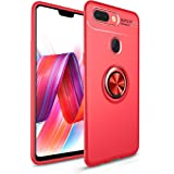 Bounceback Back Case Cover Shock Proof Ring Stand Back Cover For Oppo F9 Pro - Jet Red