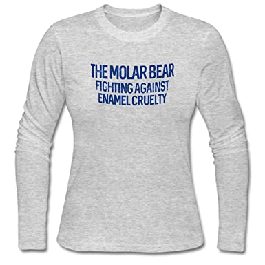 48213810 Image Unavailable. Image not available for. Color: ZWEN Women's The Molar  Bear Fighting Against Enamel Cruelty Long Sleeve T-Shirt