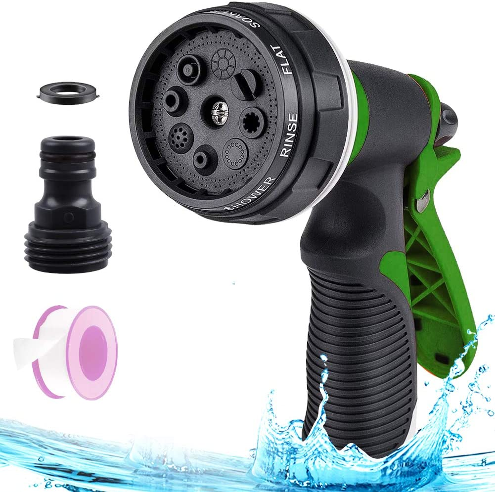 AMMER Garden Nozzle Sprayer, Heavy Duty 8 Adjustable Patterns Garden Hose Nozzle with Ergonomic Handle for Watering Lawns, Garden, Showering Pets and Washing Cars (Green)