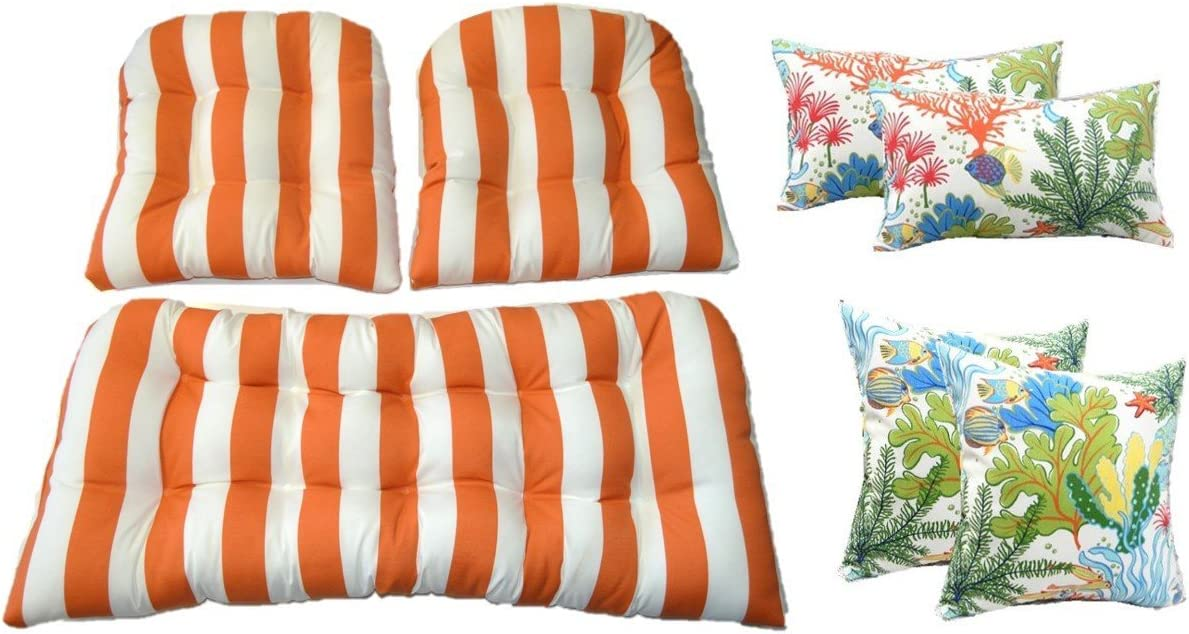 Resort Spa Home Wicker Cushions and Pillows 7 Pc Set – Orange and White Stripe Cushions and White, Orange, Turquoise, Red Splish Splash Tropical Fish Pillows – Indoor Outdoor Fabric