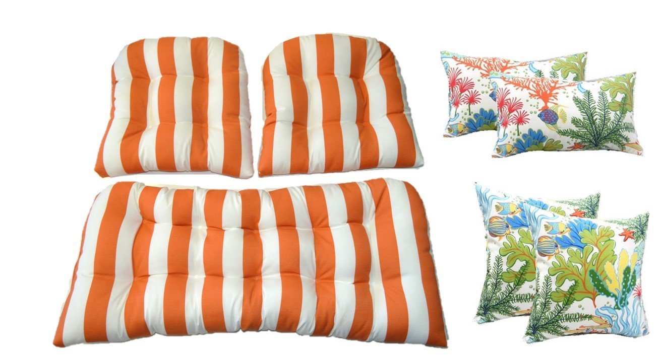 Wicker Cushions and Pillows 7 Pc Set - Orange and White Stripe Cushions and White, Orange, Turquoise, Red Splish Splash Tropical Fish Pillows - Indoor / Outdoor Fabric