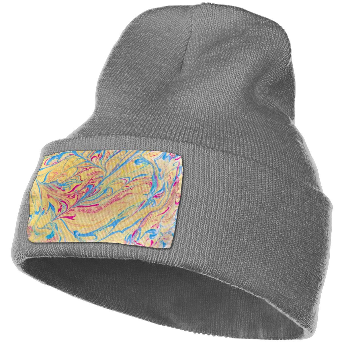 PCaag7v Abstract Yellow and Blue Colored Texture Beanie Hat Winter Solid Warm Knit Unisex Ski Skull Cap