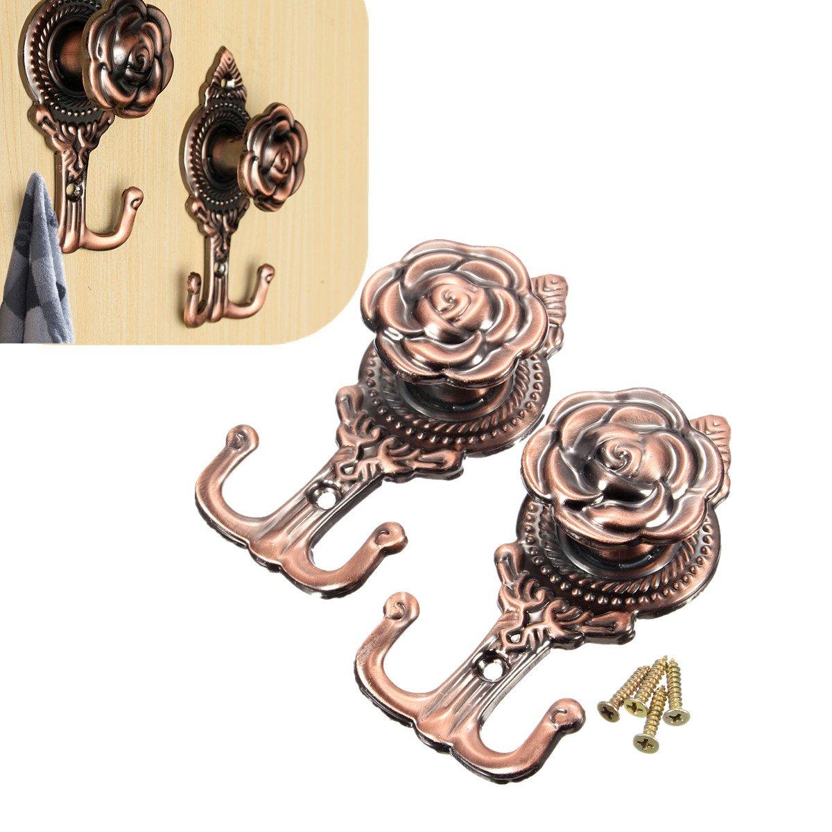 BoatShop 2pcs Zinc Alloy Peg Door Wall Bathroom Hanger Holder Hooks, Bronze