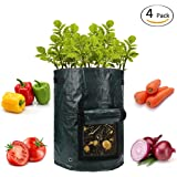 Snapbean Potato Grow Bags (4-Pack) 10-Gallon Indoor & Outdoor Vegetable Growing Planters | Heavy Duty Pots w/Natural Aeration | Veggies, Onions, Carrots, Tomatoes
