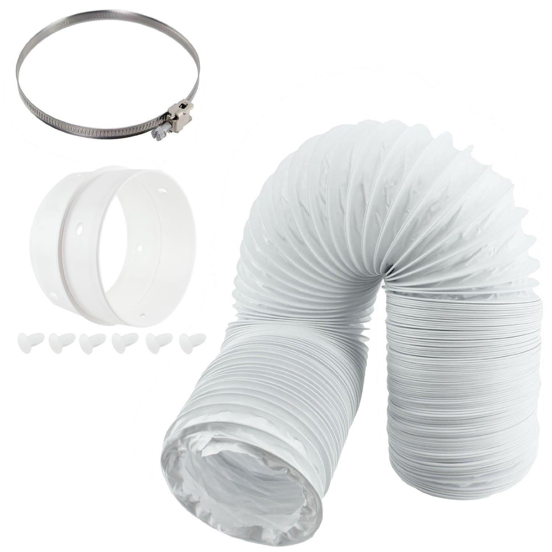 Spares2go Kit con tubo flessibile universale per asciugatrice, diametro 100 mm, anello di estensione e fascetta fermatubi