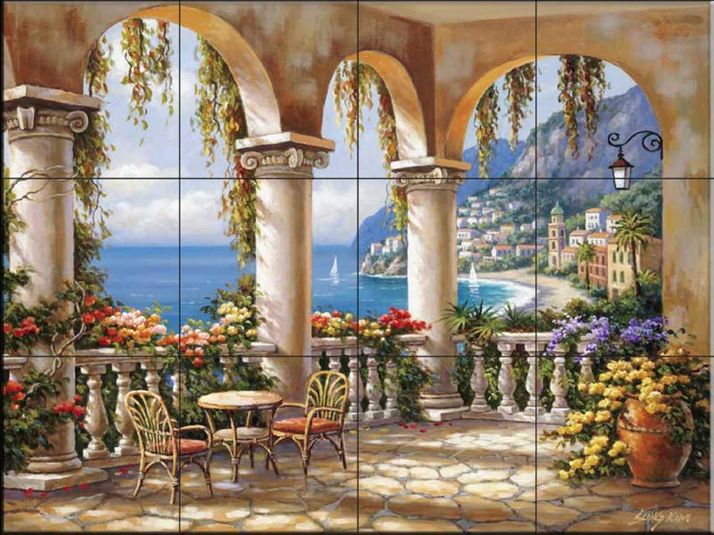 Kitchen backsplash//Bathroom shower Ceramic Tile Mural Tropical Terrace by Sung Kim
