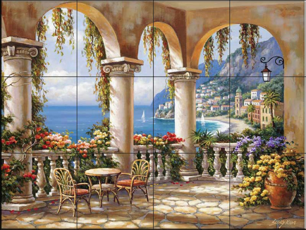 Ceramic Tile Mural - Terrace Arch I - by Sung Kim - Kitchen backsplash/Bathroom Shower