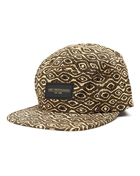 Amazon.com  Obey Trippy 5 Panel Brown Tan All Over Print Web Strap ... 4f6612ff8391