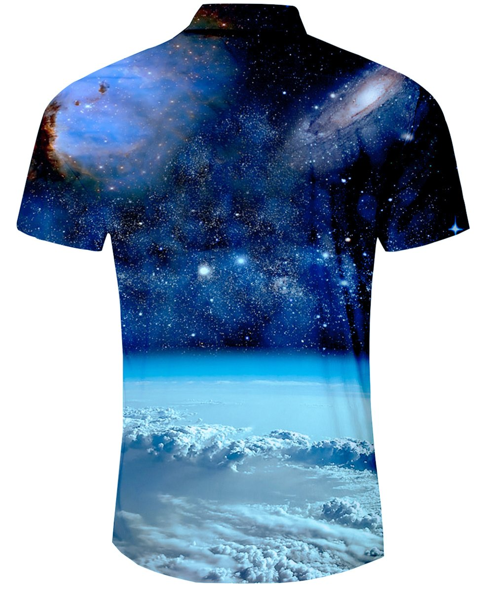 TUONROAD Adult Casual Youth Traditional Tropic Aloha Hawaiian Luau Shirt Galaxy Space Plante Printed Button Down Shirt Short Sleeve Shirt Vintage Hawaiian Shirts,Galaxy Space