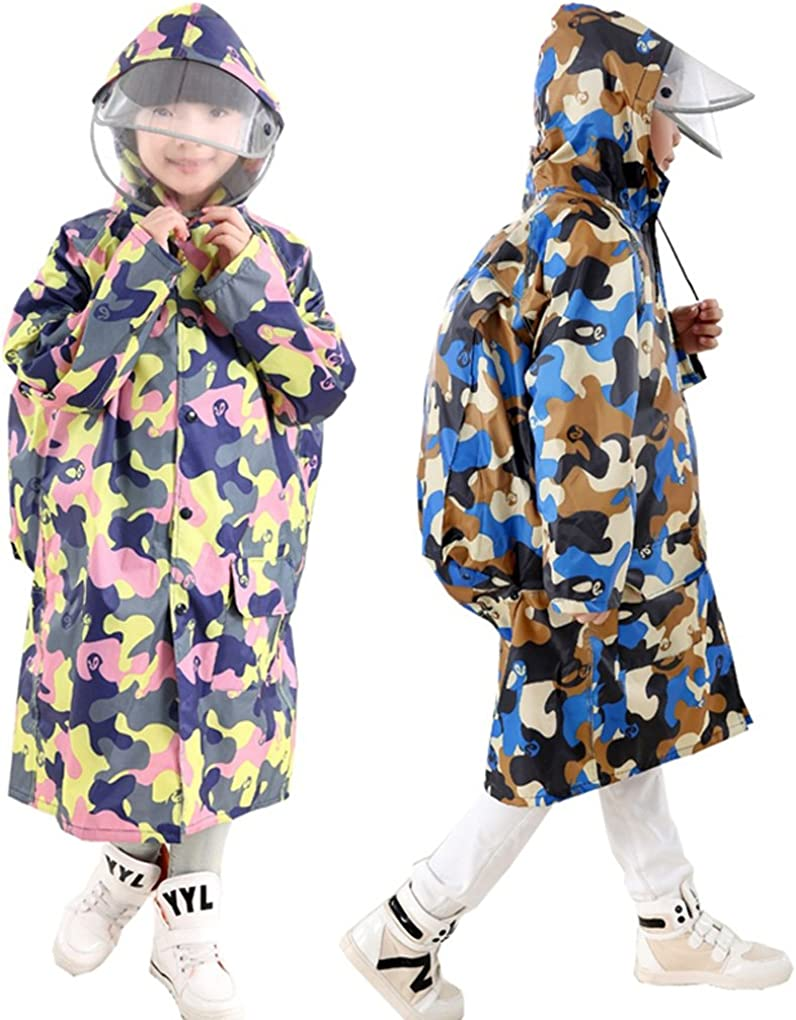 JINTN Teens Boys Girls Kids Camouflage Hooded Raincoat Cape Waterproof Hood Jacket Long Rainwear