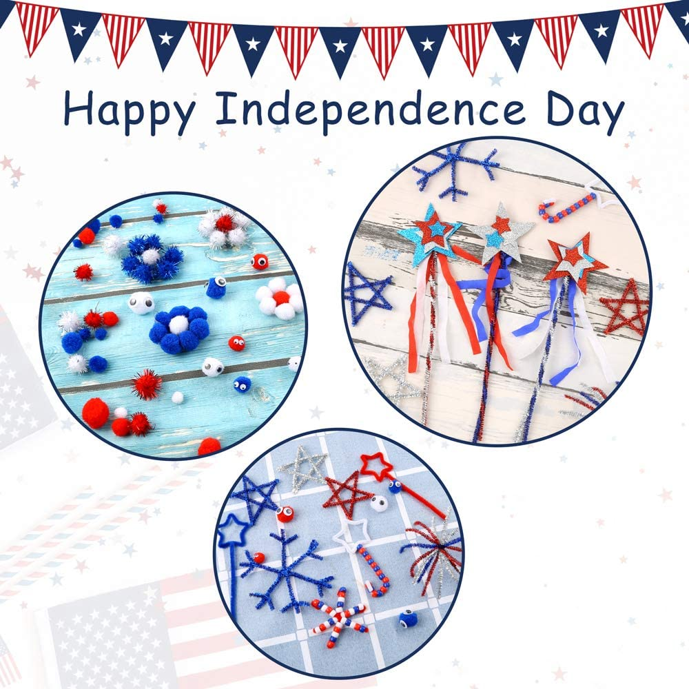 Caydo 500 Pieces Pom Poms Craft Independence Day with Assorted Glitter Pompoms Creative Crafts Decorations