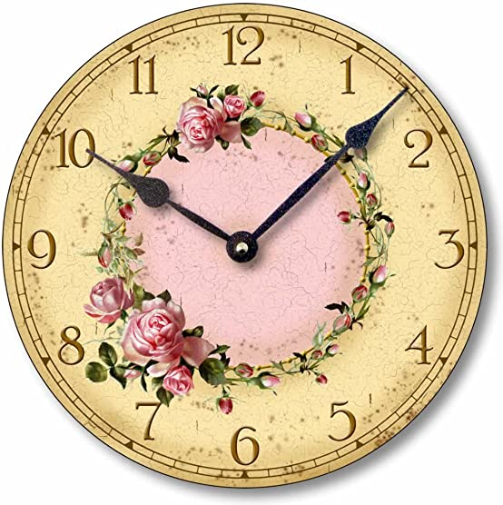 Fairy Freckles Studios Item C6032 Vintage Style Shabby Chic Pink Roses Clock 12 Inch Diameter
