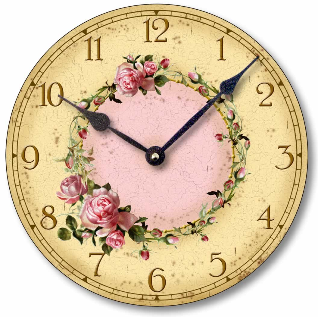 Amazon.com: Item C6032 Vintage Style Shabby Chic Pink Roses Clock ...